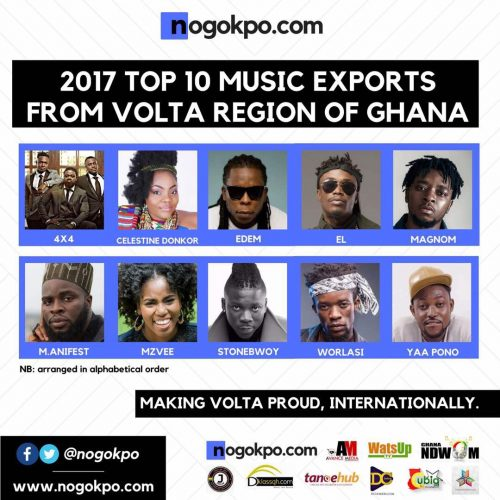 Volta Top 10 500x500 - Top 10 Music Exports From the Volta Region in 2017