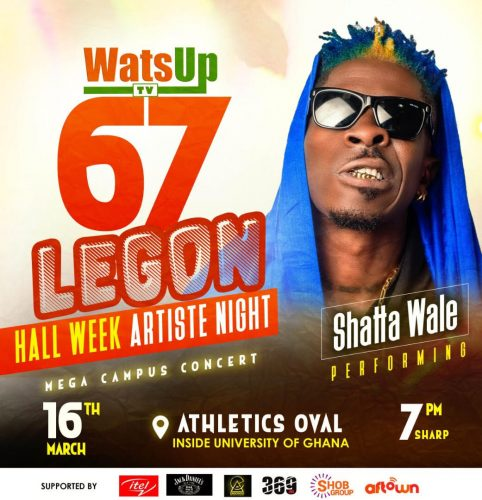 Shatta wale performing at WatsUp TV Legon Hall Week Artist Night 482x500 - Shatta Wale to Headline WatsUp TV 67th Legon Hall week Artiste Night Concert