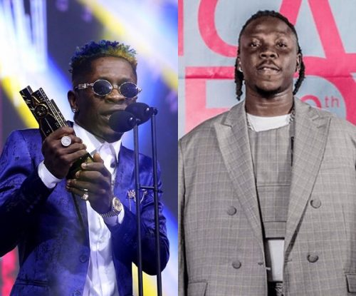 shatta stone 4syte 500x415 - Video: Shatta Wale hugs and jam to Stonebwoy's performance at the 2019 4Syte Music Video Awards