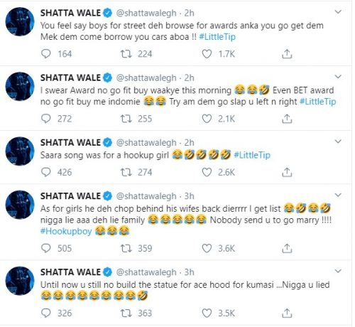 Shatta wale sark tweet 500x460 - Shatta Wale accuses Sarkodie of Cheating and Telling Lies to Tracy, His Family plus more allegation..