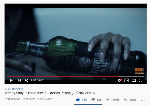 Wendy Shay alomo black 500x352 - Wendy Shay Advertizes Alcoholic Beverage In New Video