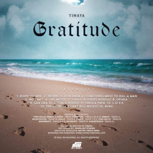 Gratitude Tracklist 500x500 - Timaya Continues His 15 Years Long-Run In The Music Industry With New Album